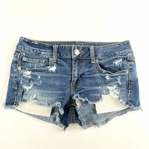 Womens American Eagle Shortie Distressed Shorts
